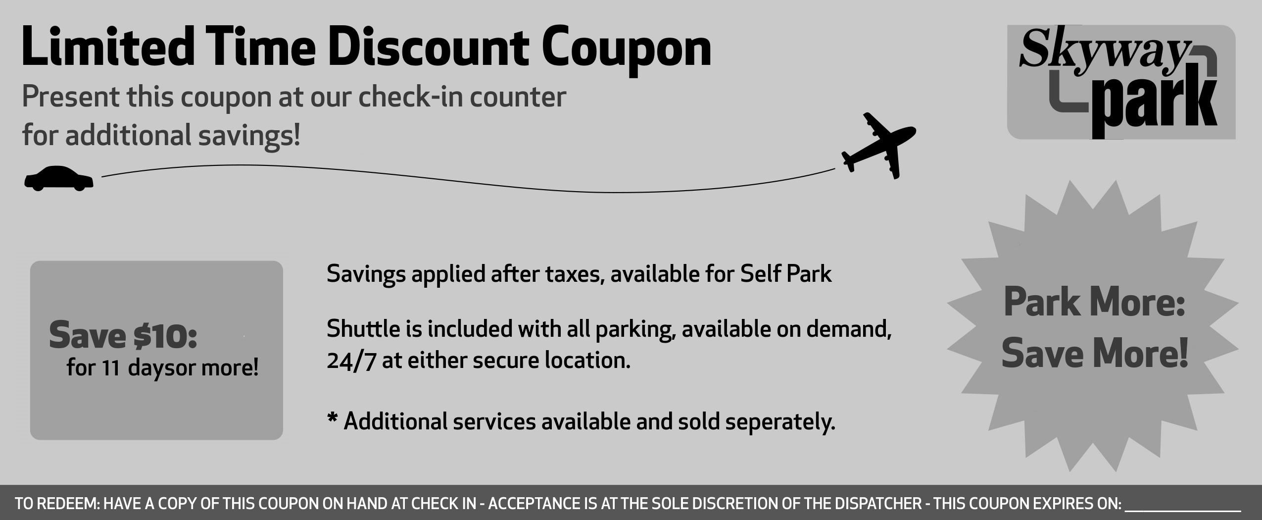 ParkingCoupon Front - Black and White
